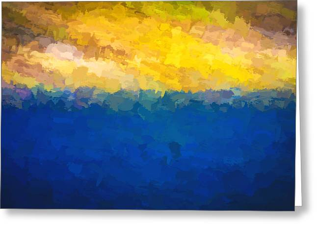 Abstract Digital Photographs Greeting Cards - Baja Sunrise Abstract Digital Painting Greeting Card by Rich Franco