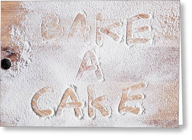 Background Greeting Cards - Bake a cake Greeting Card by Tom Gowanlock