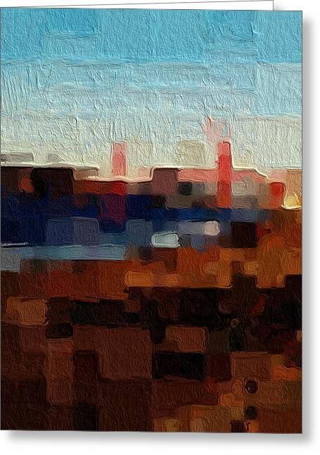 Blue And Orange Abstract Art Greeting Cards - Baker Beach Greeting Card by Linda Woods