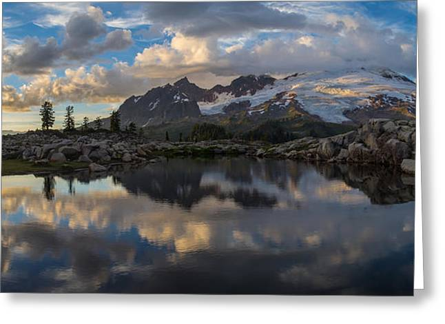 North Cascades Greeting Cards - Baker Dusk Cloudscape Greeting Card by Mike Reid