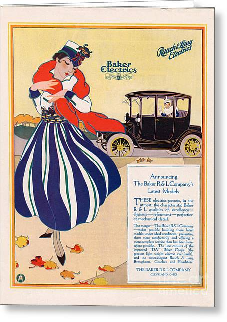 American Automobiles Greeting Cards - Baker Electric Cars 1910s Usa Cc Cars Greeting Card by The Advertising Archives