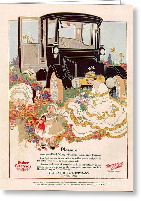 American Automobiles Greeting Cards - Baker Electrics 1916 1910s Usa Cc Cars Greeting Card by The Advertising Archives