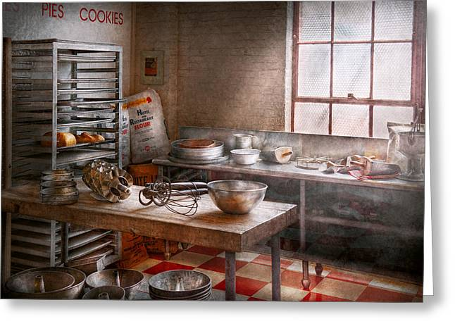 Cluttered Greeting Cards - Baker - Kitchen - The commercial bakery  Greeting Card by Mike Savad