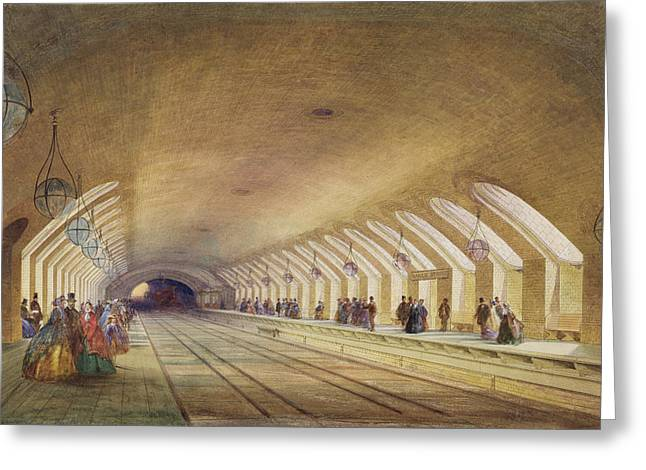 Development Greeting Cards - Baker Street Station, 1863 Wc & Bodycolour With Pen & Ink On Paper Greeting Card by Samuel John Hodson