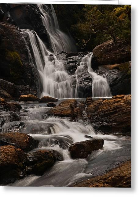 Lanscape Greeting Cards - Bakers Fall. Horton Plains National Park. Sri Lanka Greeting Card by Jenny Rainbow