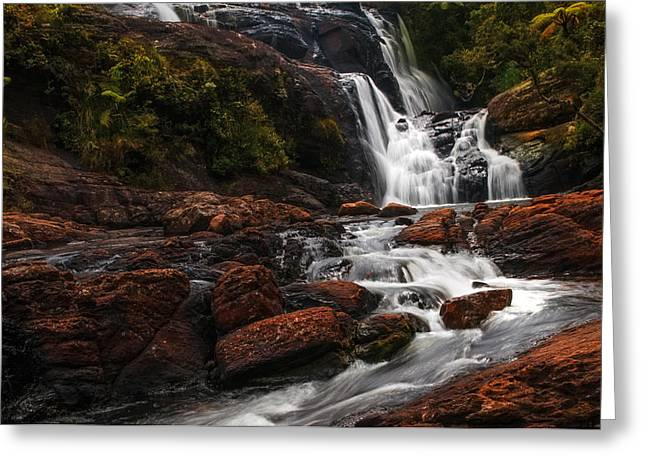 Unique View Greeting Cards - Bakers Fall I. Horton Plains National Park. Sri Lanka Greeting Card by Jenny Rainbow