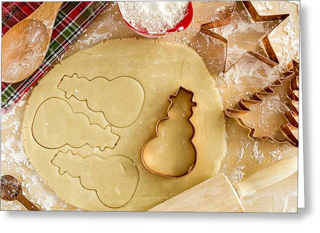 Wood Cutters Greeting Cards - Baking Cookies for Santa Greeting Card by Teri Virbickis