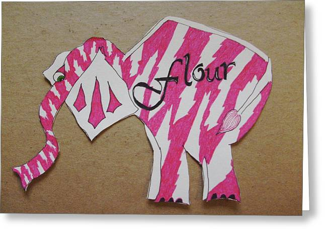 Flour Drawings Greeting Cards - Baking Elephant Flour Greeting Card by Carolina Campbell