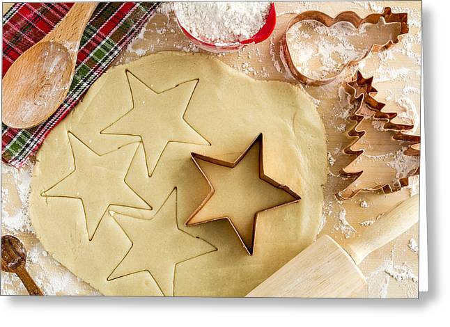 Wood Cutters Greeting Cards - Baking Holiday Cookies Greeting Card by Teri Virbickis