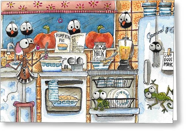Lizard Illustration Greeting Cards - Baking Pumpkin Pie Greeting Card by Lucia Stewart