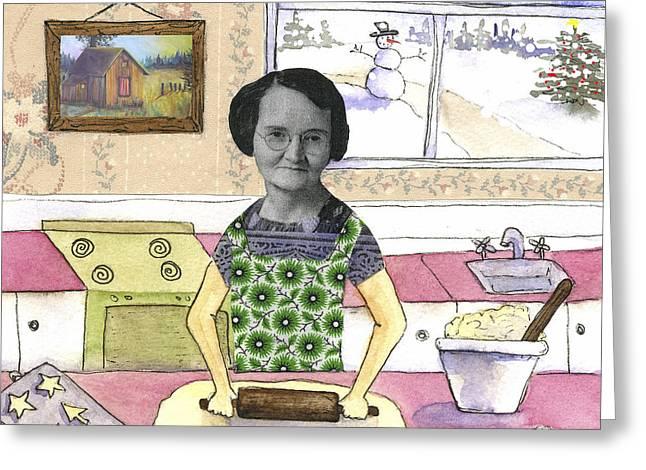 Mid Adult Women Paintings Greeting Cards - Baking Sugar Cookies Greeting Card by Kerrie  Hubbard