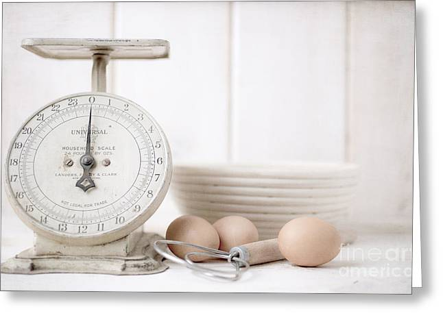 Flour Greeting Cards - Baking Time Vintage Kitchen Scale Greeting Card by Edward Fielding