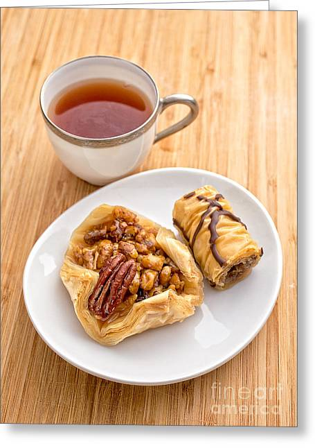 Syrup Greeting Cards - Baklava Tea Break Greeting Card by Edward Fielding