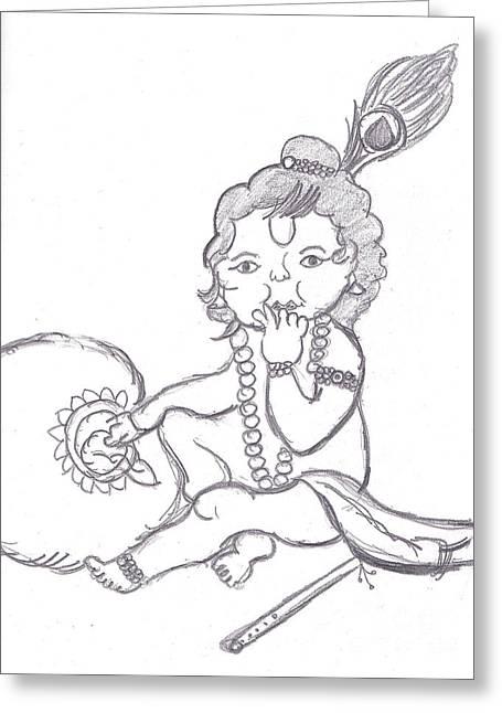 Baby Room Drawings Greeting Cards - Bal Gopal eatting butter Greeting Card by Melissa Vijay Bharwani