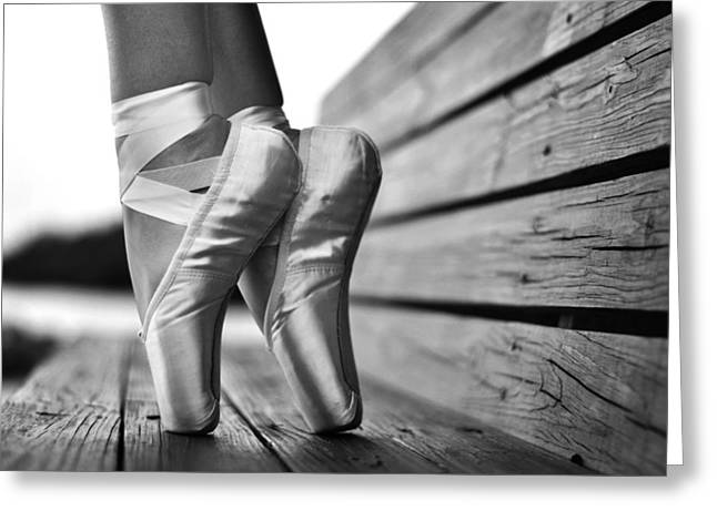 Ballet Dancers Photographs Greeting Cards - balance BW Greeting Card by Laura  Fasulo