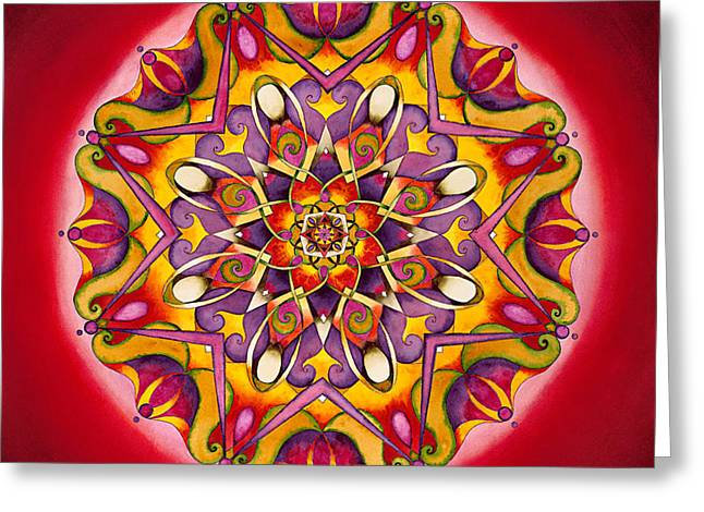 Grounding Greeting Cards - Balance - Root Chakra Mandala Greeting Card by Vikki Reed
