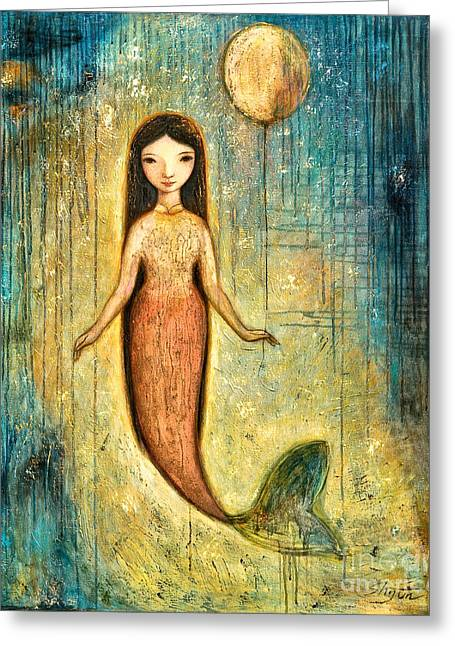Oil Mixed Media Greeting Cards - Balance Greeting Card by Shijun Munns