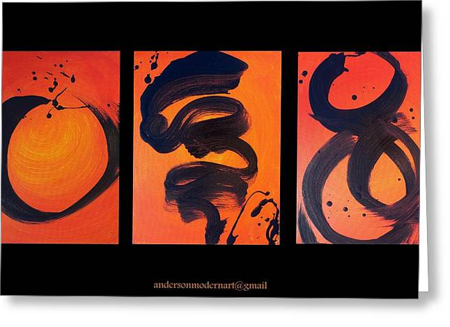 Acrylic Calligraphy Print Greeting Cards - Balance Triptych Greeting Card by Holly Anderson