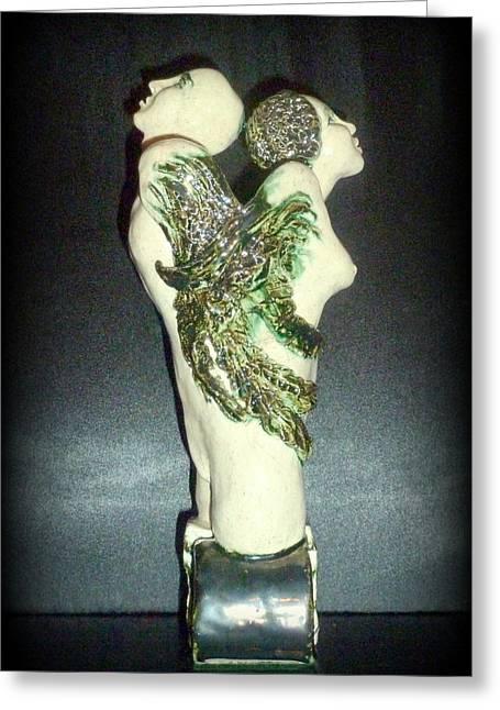 Sculptures Ceramics Greeting Cards - Balanced Energy Greeting Card by Satya Winkelman