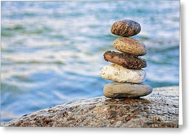 Pebbles Greeting Cards - Balanced Pebbles Greeting Card by Charline Xia