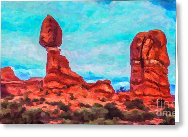 Balanced Rock Arches Np Greeting Card by Liz Leyden