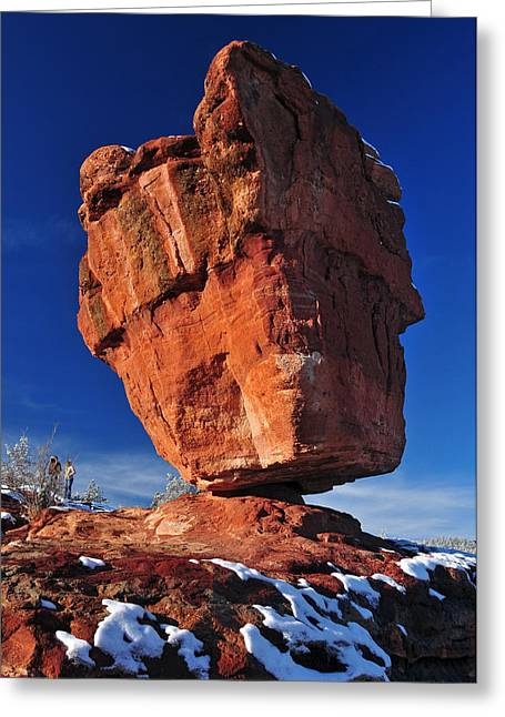 Garden Of The Gods Greeting Cards - Balanced Rock at Garden of the Gods with Snow Greeting Card by John Hoffman