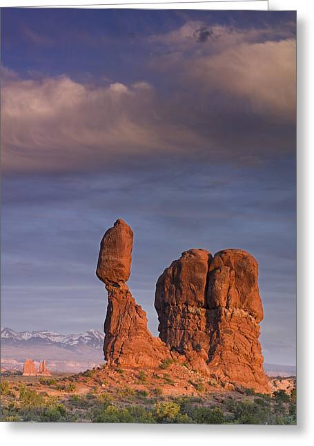 Geology Photographs Greeting Cards - Balanced Rock at Sunset Greeting Card by Richard Berry