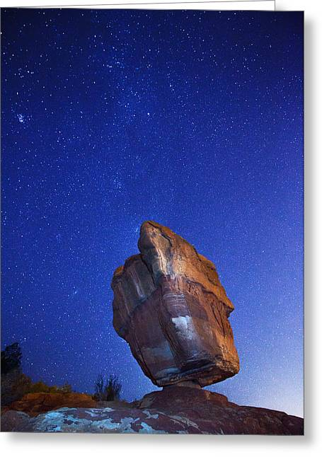 Garden Of The Gods Greeting Cards - Balanced Rock Nights Greeting Card by Darren  White
