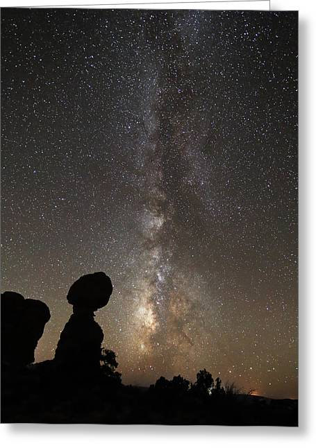Constellations Greeting Cards - Balanced Rock with the Milky Way Greeting Card by Jean Clark