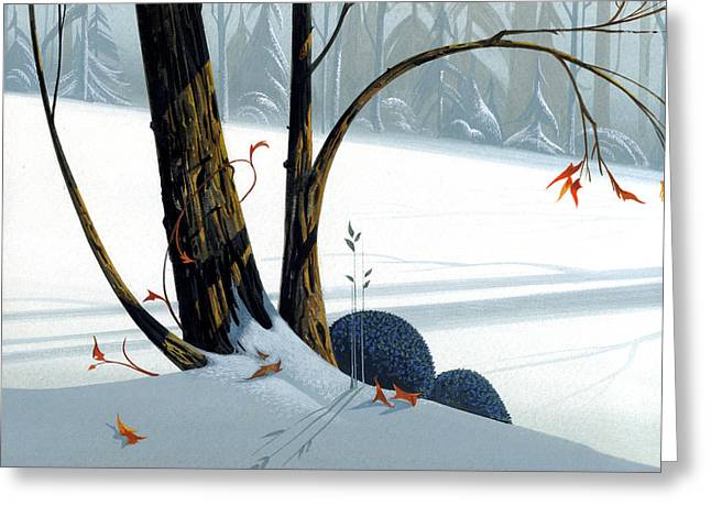 Winter Landscape Paintings Greeting Cards - Balancing Act  Greeting Card by Michael Humphries
