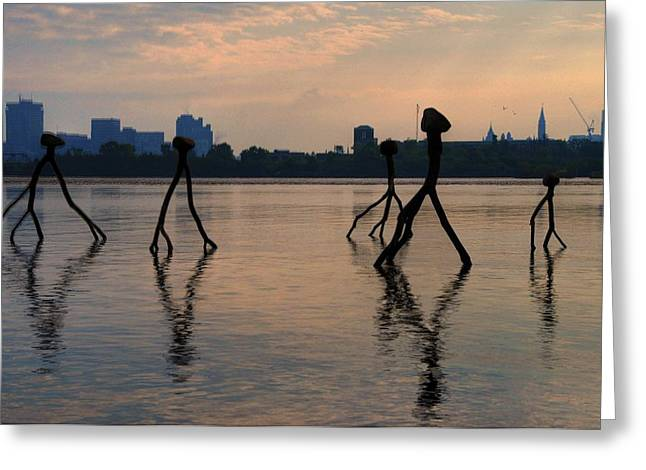 Ottawa Skyline Greeting Cards - Balancing art on the Ottawa River Greeting Card by Jana Kriz