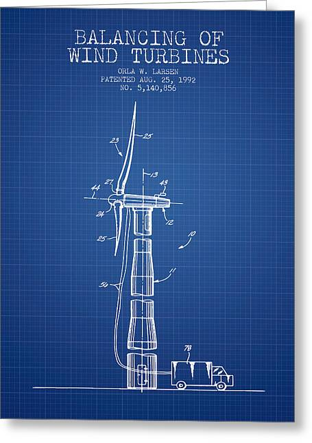 Generators Greeting Cards - Balancing of Wind Turbines patent from 1992 - Blueprint Greeting Card by Aged Pixel