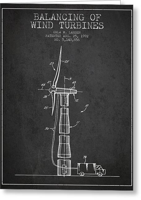 Generators Greeting Cards - Balancing of Wind Turbines patent from 1992 - Dark Greeting Card by Aged Pixel