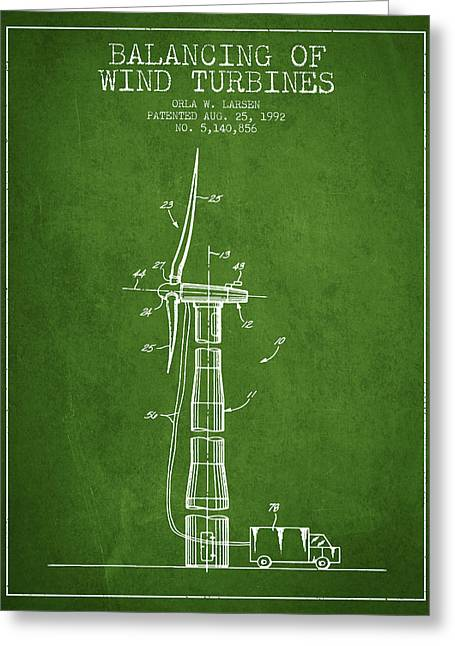 Generators Greeting Cards - Balancing of Wind Turbines patent from 1992 - Green Greeting Card by Aged Pixel