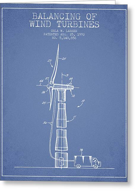 Generators Greeting Cards - Balancing of Wind Turbines patent from 1992 - Light Blue Greeting Card by Aged Pixel