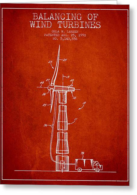 Generators Greeting Cards - Balancing of Wind Turbines patent from 1992 - Red Greeting Card by Aged Pixel