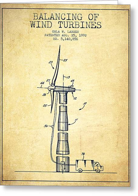 Generators Greeting Cards - Balancing of Wind Turbines patent from 1992 - Vintage Greeting Card by Aged Pixel