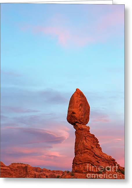 Colorful Cloud Formations Greeting Cards - Balancing rock late sunset Greeting Card by Robert Keenan