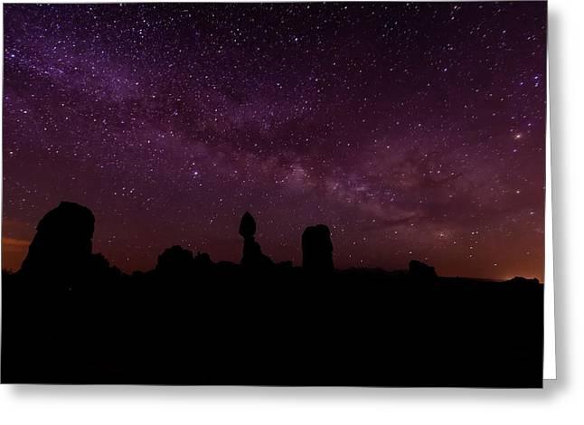 Dark Skies Greeting Cards - Balancing the Universe Greeting Card by Silvio Ligutti