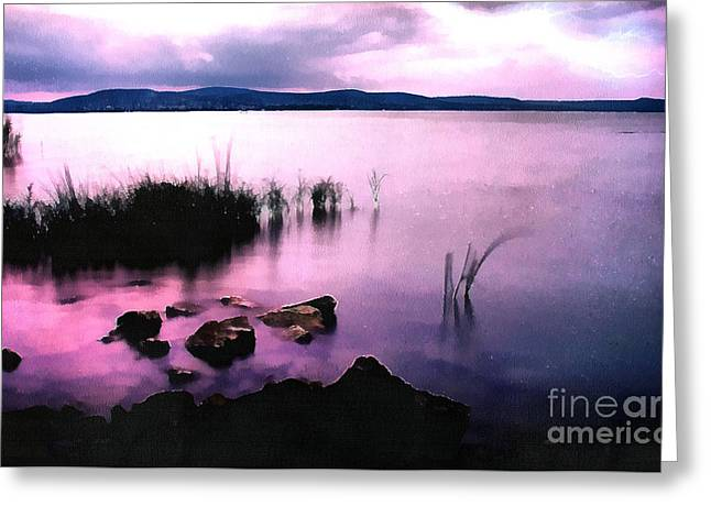 Water Filter Paintings Greeting Cards - Balaton by night Greeting Card by Odon Czintos