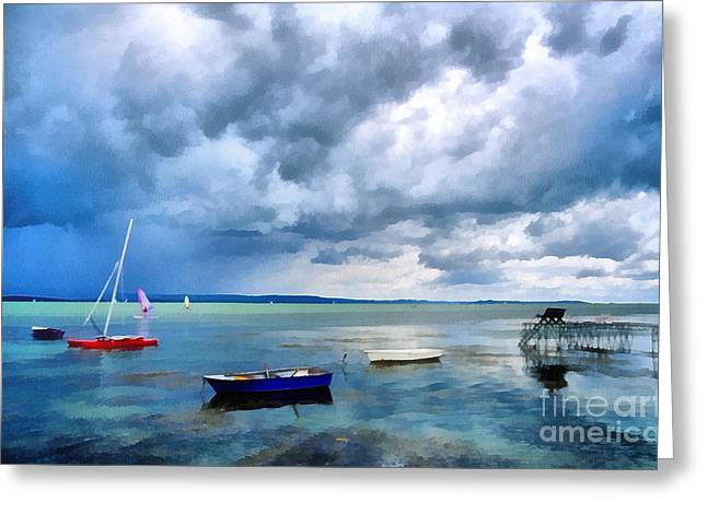 Odon Greeting Cards - Balaton lake Greeting Card by Odon Czintos