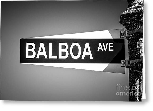 Orange Photos Greeting Cards - Balboa Avenue Street Sign Black and White Picture Greeting Card by Paul Velgos