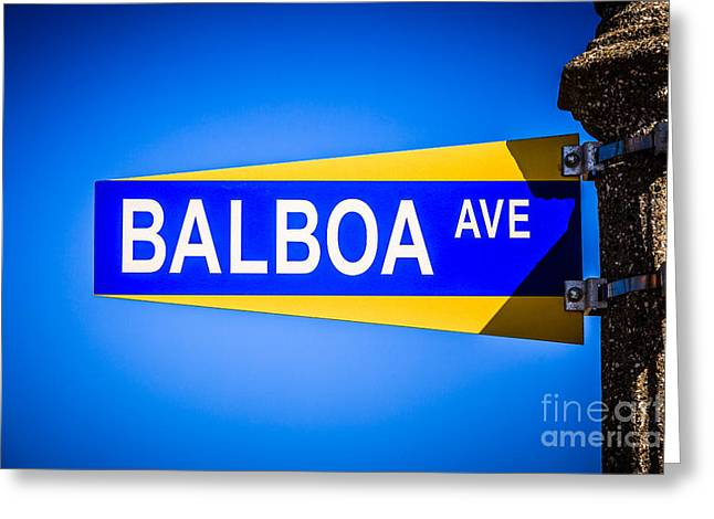 Orange Photos Greeting Cards - Balboa Avenue Street Sign on Balboa Island California Greeting Card by Paul Velgos