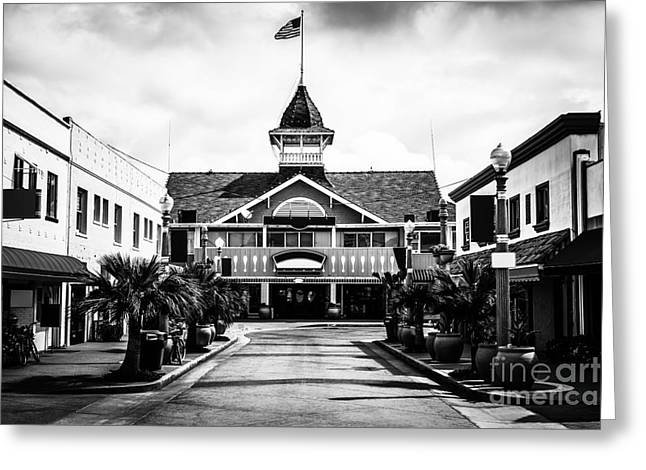 Main Street Greeting Cards - Balboa California Main Street Black and White Picture Greeting Card by Paul Velgos