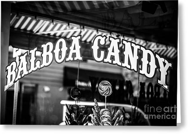 Orange Photos Greeting Cards - Balboa Candy Sign on Balboa Island Newport Beach Greeting Card by Paul Velgos