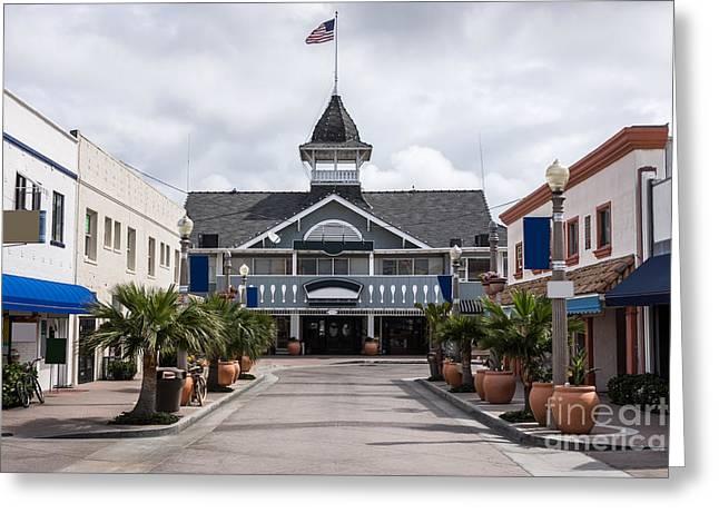 Main Street Greeting Cards - Balboa Downtown Main Street in Newport Beach Greeting Card by Paul Velgos