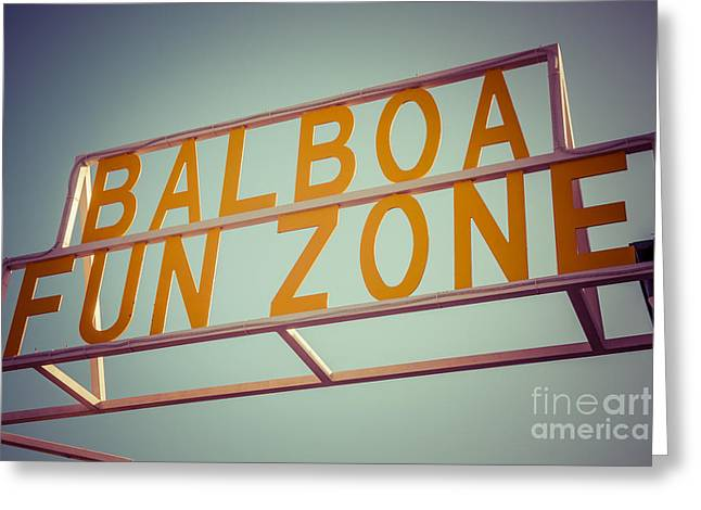 Amusements Greeting Cards - Balboa Fun Zone Sign Newport Beach Vintage Photo Greeting Card by Paul Velgos