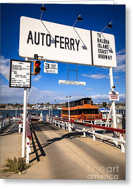 Balboa Island Greeting Cards - Balboa Island Auto Ferry in Newport Beach California Greeting Card by Paul Velgos