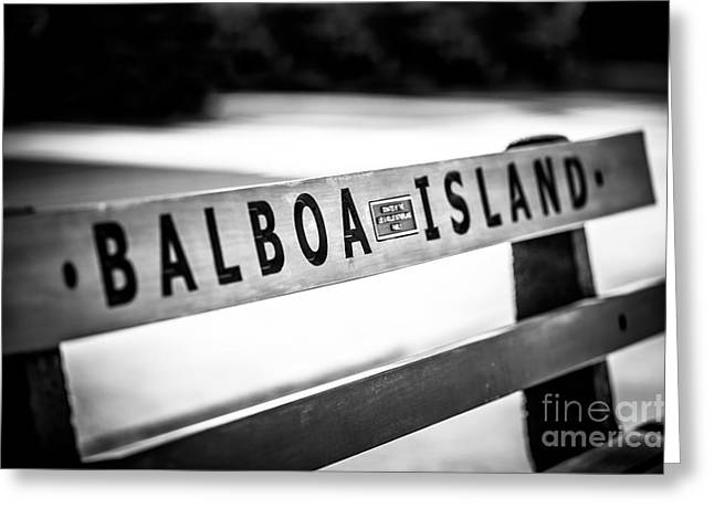 Park Benches Photographs Greeting Cards - Balboa Island Bench in Newport Beach California Greeting Card by Paul Velgos