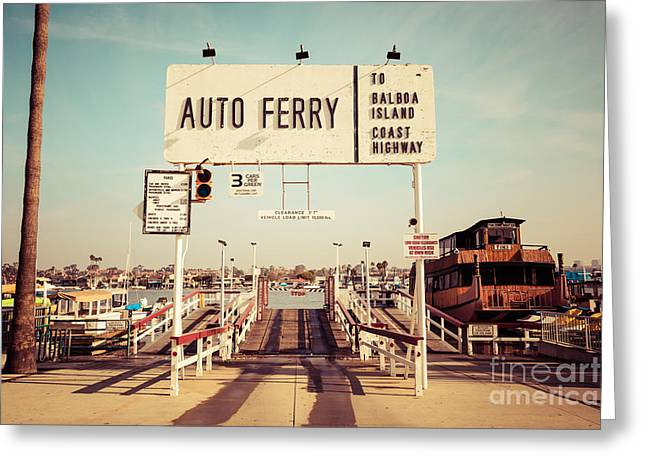 Balboa Island Greeting Cards - Balboa Island Ferry Newport Beach Vintage Picture Greeting Card by Paul Velgos